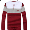 2017 new men's  t shirt striped long sleeved t-shirt men stitching color button down men tops