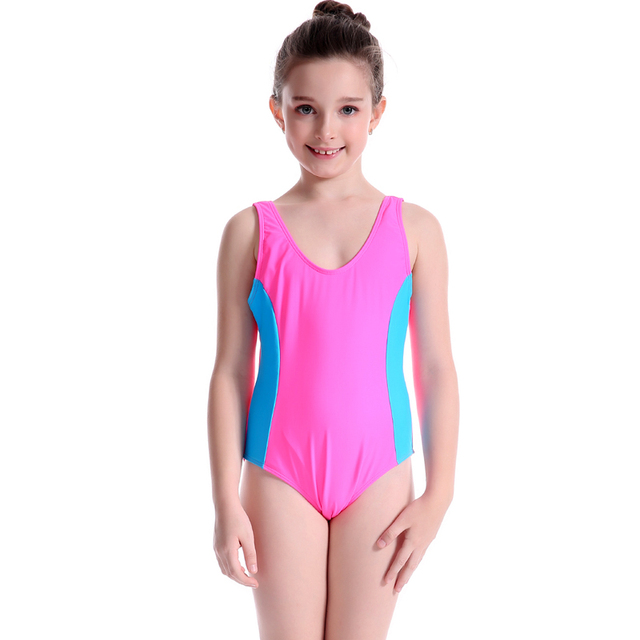 525a438ccbcc9 PowerPai Sexy Patchwork U Neck Girls Swimwear 2017 Professional Thong One  Piece Swimsuit for kids Children Swimming Suit