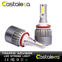 Castaleca 2pcs C6 Ultra Bright Car Headlights 72W 6000K Automobiles Headlamp H1 H3 H7 9005 9006