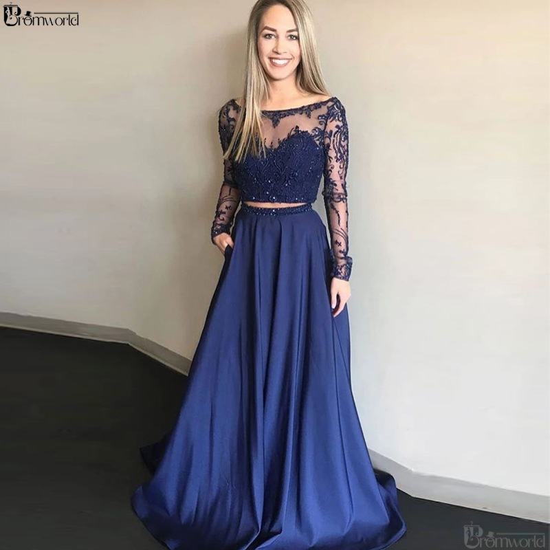 Long Sleeves Lace Beaded Two Pieces   Prom     Dresses   2019 vestidos de graduación Navy Blue Formal Evening   Dress   Plus Size   Prom   Gown