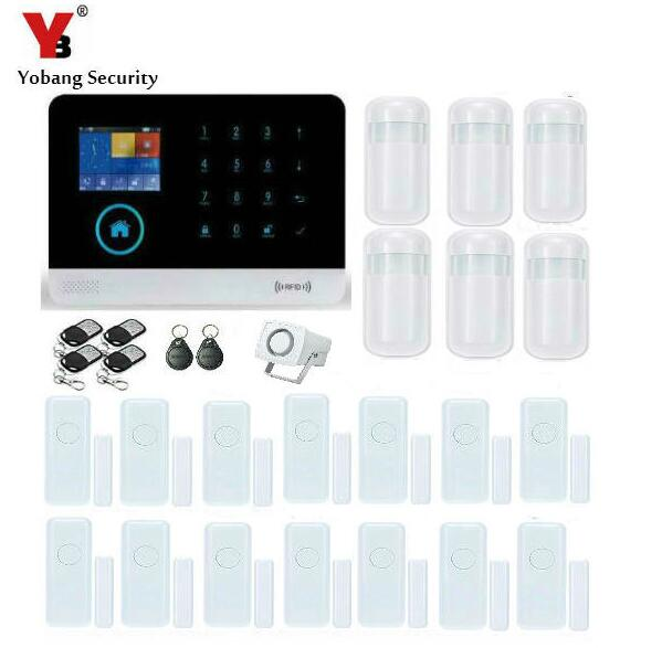Yobang Security-2.4 RFID Touch Keypad WIFI GSM Security Alarm System Android IOS APP Metal Remote Control PIR Motion Detector intelligent home security alarm system with new door sensor pir detector app control sms gsm alarm system support rfid keypad