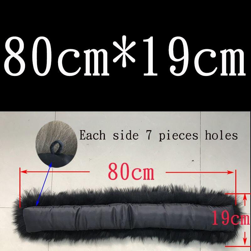 Воротник из натурального меха натуральный мех енота шарф для мужчин женщин детские парки пальто мужской мех воротники черный 50 60 70 90 см - Цвет: Black 80cmX19cm