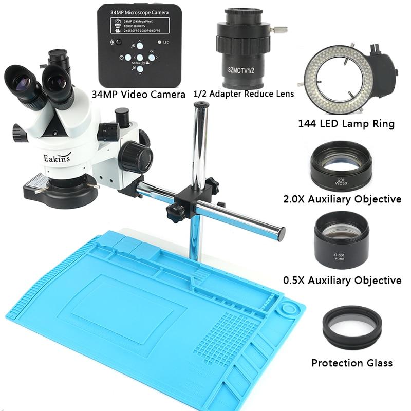 Caméra de Microscope USB 34MP 2 K 1080 P 60FPS HDMI 3.5 ~ 90X Zoom continu Microscope stéréo trinoculaire 144 lampe à LED lentille Barlow