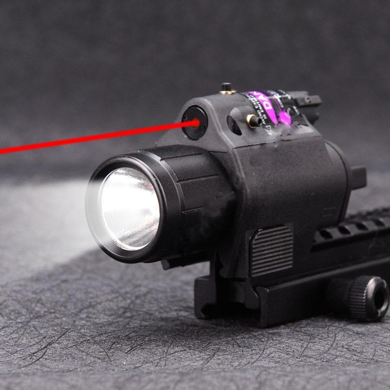 2 in 1 Tactical Flashlight Light+Red Laser Sight Dot Light Scope Combo for Pistols Shot Gun Camping Hunting Light