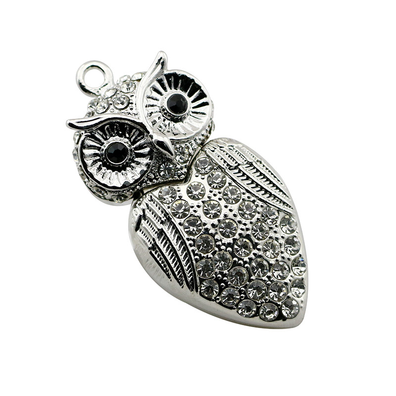 Animal USB Flash Drive Metal Diamond Owl Pendrive Nighthawk Pen Drive 4GB 8GB 16GB 32GB 64GB USB Memory Stick Gift With Necklace 5