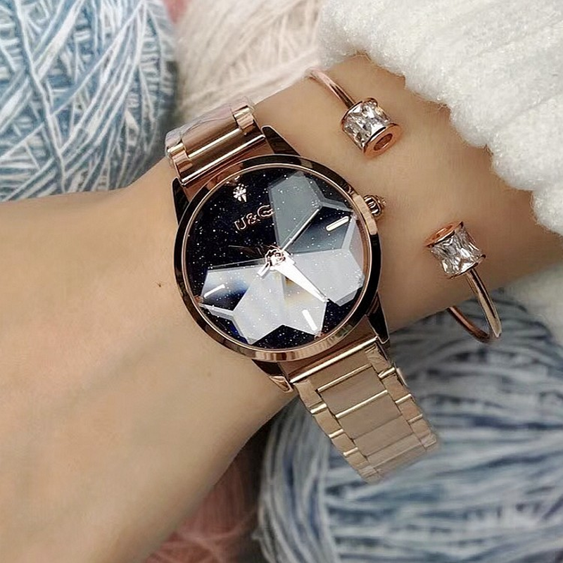 Drop Ship Fashion Personality Starry Dial Women s Watch Rose Gold Stainless Steel Belt Ladies Quartz