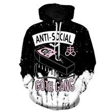 Cloudstyle 2020 3D Hoodies ผู้ชาย Anti Social Club 3D Skull พิมพ์ Hoody Pullovers หลวมแฟชั่นเสื้อลำลองแบรนด์ขนาดใหญ่ Streetweart