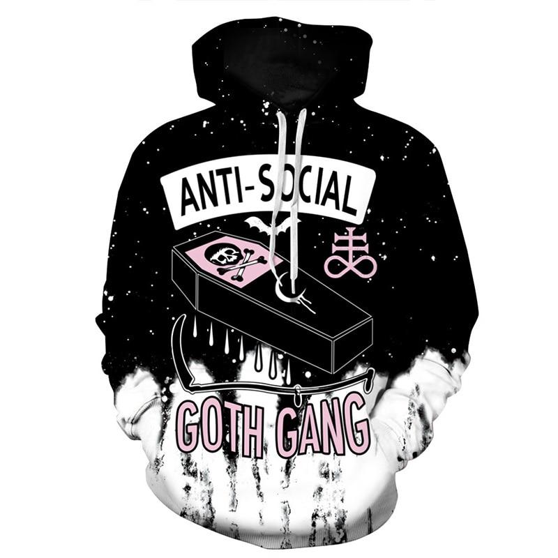 Cloudstyle 2020 3D Hoodies Men Anti Social Club 3D Skull Print Hoody Loose Pullovers Fashion Casual Tops Brand Large Streetweart