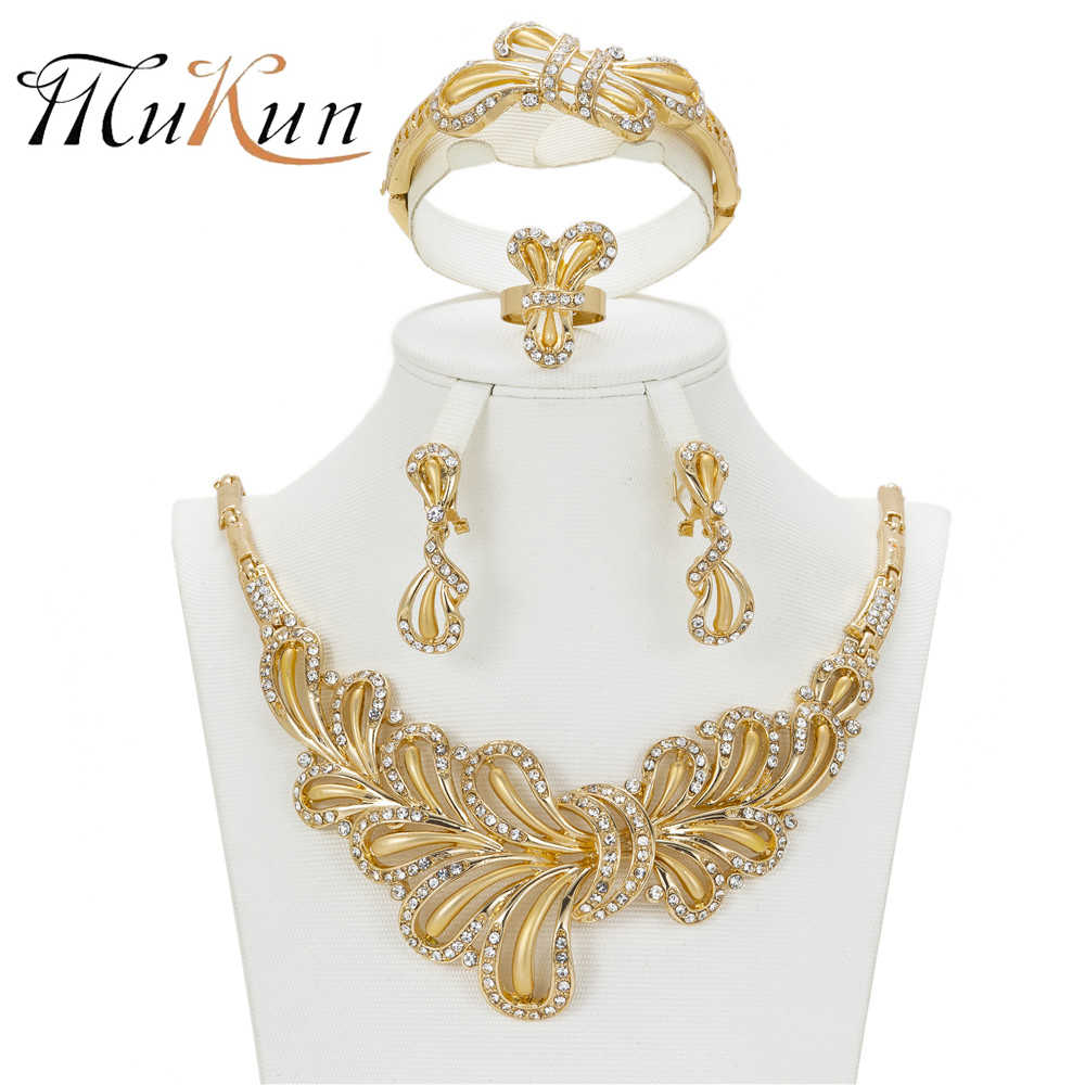 MUKUN Nobler Dubai wedding Party Jewelry Set for Butterfly Fashion jewelry African costume Gold Crystal Bridal Accessories