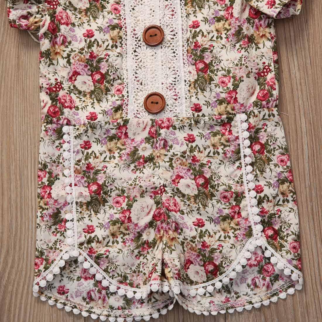 2 piezas ropa de bebé para niños recién nacidos 2017 Nuevo diseño Floral de manga corta mono ropa traje de sol suave en general