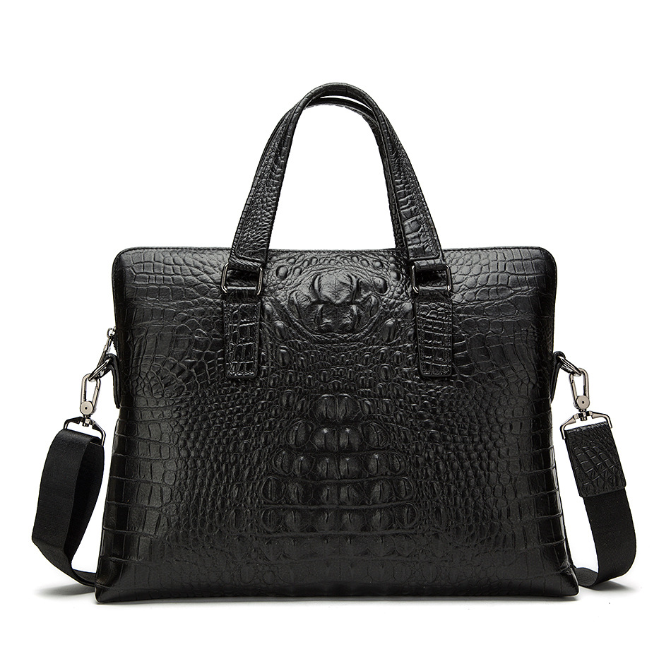 Genuine Leather Mem Bag Bolso Hombre Crocodile Leather Business Men Handbag Briefcase Laptop Computer Bag Bolso Ordenador