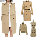 Mulheres livres do transporte trench coat 3 desgaste estilo longo trench, casaco curto casaco e colete primavera casaco novo da mulher 140