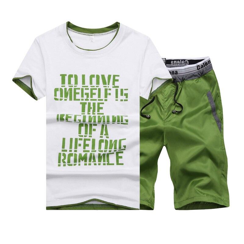 2018 Summer Mens Short-Sleeve T-Shirt 2 Piece sets 4XL Fashion casual Man Movement T Shirt Cool and comfortable teen clothing