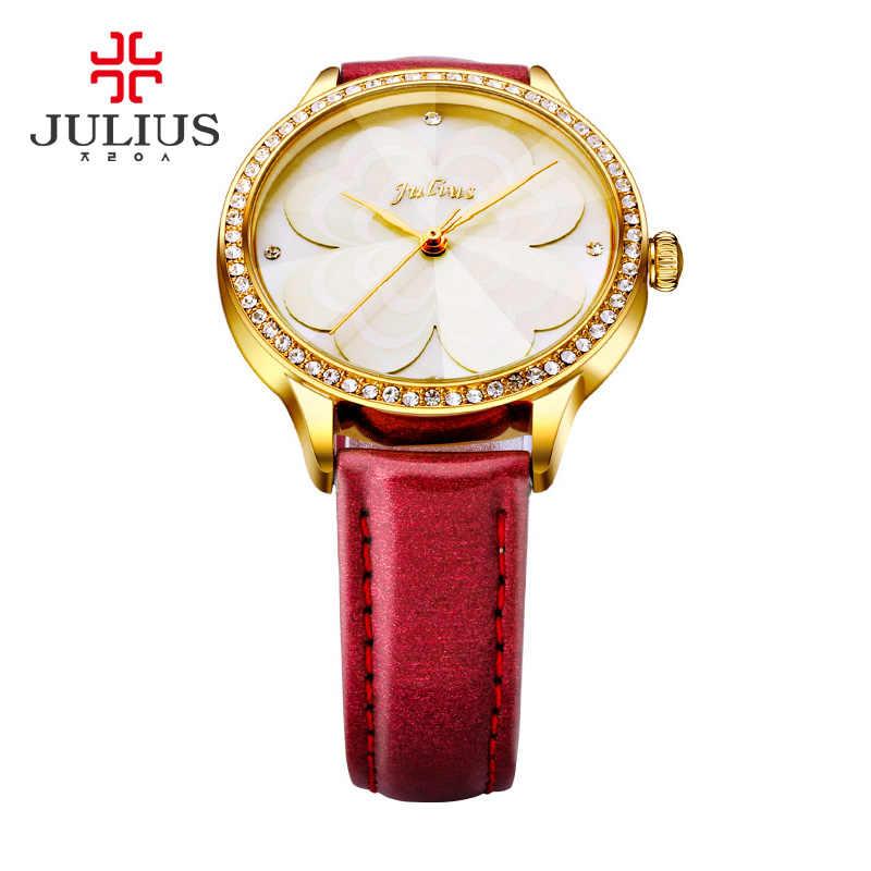 Юлий розовый принцесса цветок часы романтический подарок Whatch для женщин желе Стразы Брендовые женские часы для девочек ретро часы JA-803