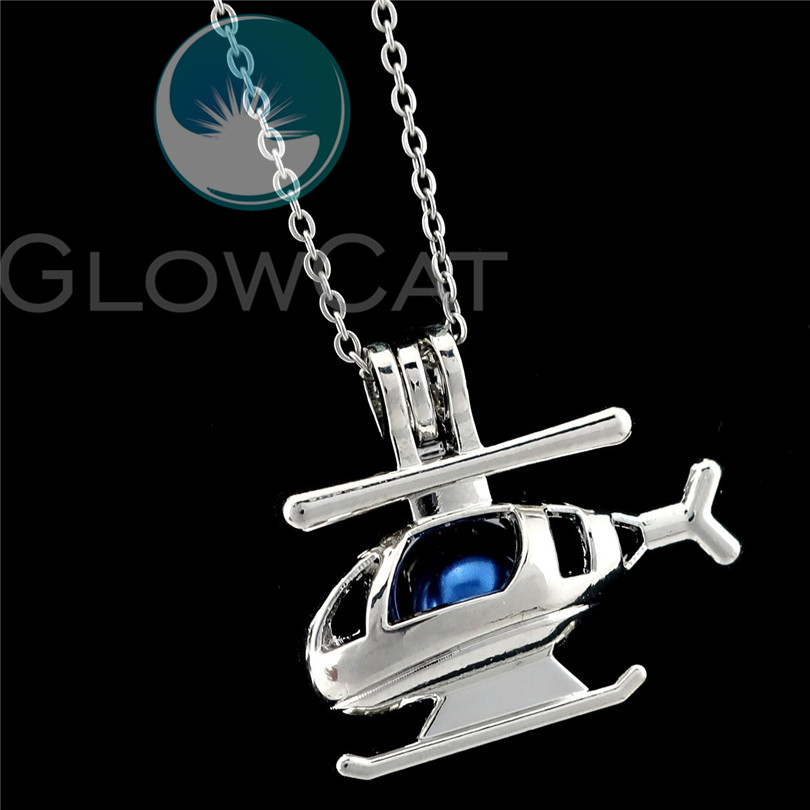 K904 Silver Helicopter Beads Cage Oil Diffuser Pearl Locket Necklace Pendant