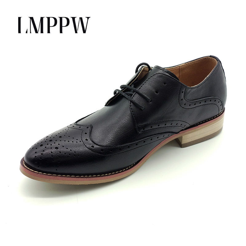 New 2018 England Style Men 's Leather Casual Shoes Fashion Lace Up Oxford Shoes for Men Flat Shoes Black Yellow Brogues Shoes 8 branded men s penny loafes casual men s full grain leather emboss crocodile boat shoes slip on breathable moccasin driving shoes