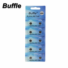 цена на Buffle 10pcs AG4 LR626 377 1.5V Alkaline Button Cell Coin Battery Disposable Batteries For Calculator Toys