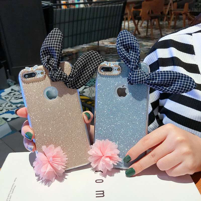 For iPhone X XR XS Max Cases TPU Glitter With Camera Decorative Frame Case For iPhone 5 5S SE 6 6S 7 8 Plus Cover Capa Coque in Fitted Cases from Cellphones Telecommunications