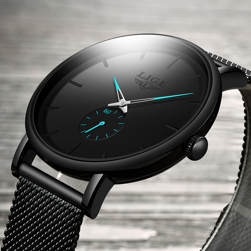 LIGE 2019 nowych moda sportowe męskie zegarki Top marka luksusowe wodoodporna proste Ultra cienki zegarek mężczyźni kwarcowy zegar Relogio masculino 2