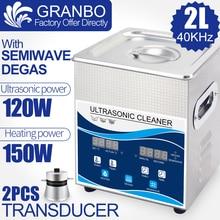 O líquido de limpeza ultrassônico 2l 120 w digital degas 110 v/220 v 40khz remove a lente ótica do equipamento do bocal da oxidação do óleo ferramentas dentárias aquecimento lavagem