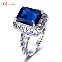 Fashion Big Stone Ring Created Sapphire Flower 925 Sterling Silver Cocktail Ring Manufacturers Women Vintage Party Party Rings