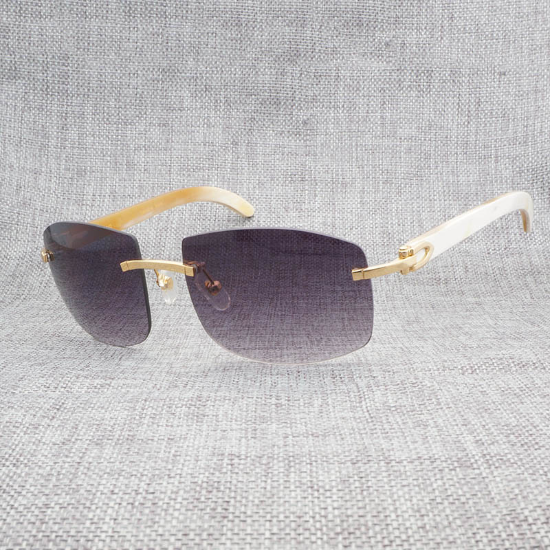 Vintage Oversize Black White Buffalo Horn Sunglasses Men Natural Wooden Shades Rimless Sun Glasses Eyewear for Driving Club 705 in Men 39 s Sunglasses from Apparel Accessories