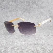 Vintage Oversize Black White Buffalo Horn Sunglasses Men Natural Wooden Shades Rimless Sun Glasses Eyewear for Driving Club 705