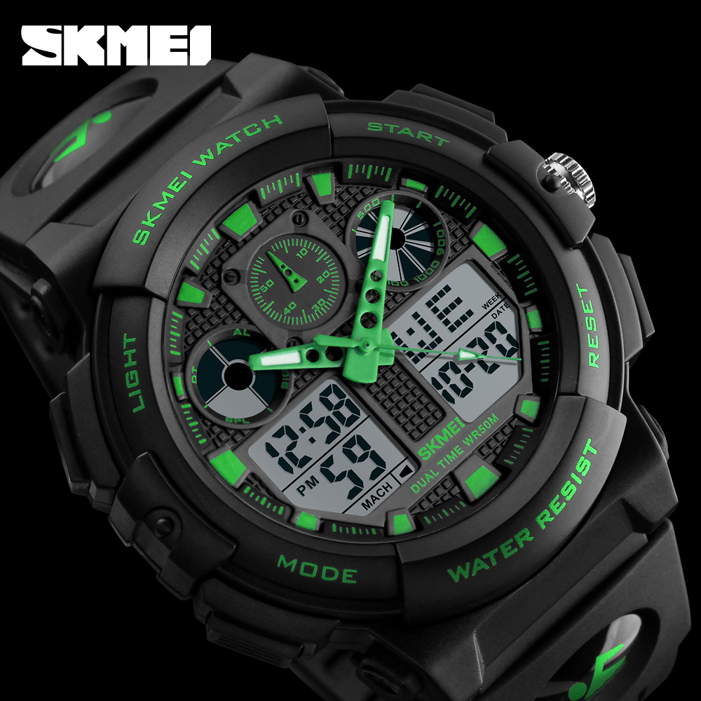 New Luxury SKMEI Brand Sports Quartz Watch Men Waterproof Dual Time Analog Digital LED Clock Man Casual Wristwatches weide casual luxury genuin new watch men quartz digital date alarm waterproof clock relojes double display multiple time zone