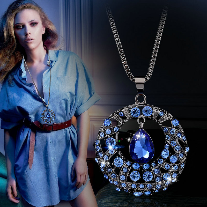Vintage Crystal Round Water Drop Long Necklace Sweater Chain All-match Necklaces & Pendants For Women Jewelry Accessories