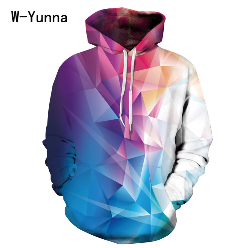 Color Block 3D Print Sweatshirt Women Unisex Hoody With Hat Loose Winter Pullovers with Pocket Hooded Sudaderas Mujer