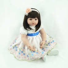55 Cm 22 inch Reborn Child Reborn Dolls With Rose Flower Head In Head Super Baby