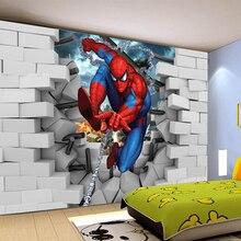 Пользовательские papel де parede infantil, Человек-паук 3d Фреска для детской комнаты спальни ТВ фон стены текстильные обои