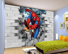 Custom papel DE parede infantil,spiderman 3d mural for the children room bedroom TV background wall Textile Wallcoverings(China)