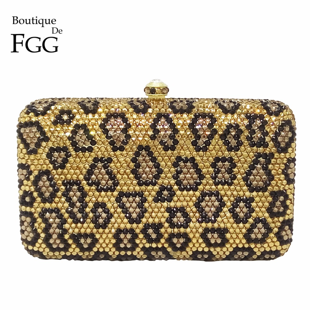 Gift Box Elegant Women Leopard Crystal Wedding Clutch Purses Minaudiere Evening Bags Ladies Diamonds Handbag Party Day Clutches women evening bags flap ladies minaudiere wedding party clutch bag crystal diamonds purses gold day cluthes smyzh f0074