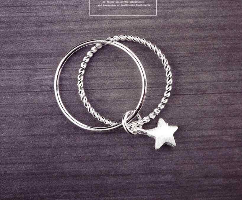 Женское двухслойное кольцо со звездой, из стерлингового серебра 925 пробы, для тонких пальцев, S-R53