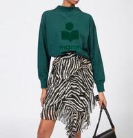 Новинка 2018 г. Осенняя женская обувь темно зеленый MOBY Толстовка шею с рифлением заниженной линией плеч хлопковые пуловеры бархат буквами