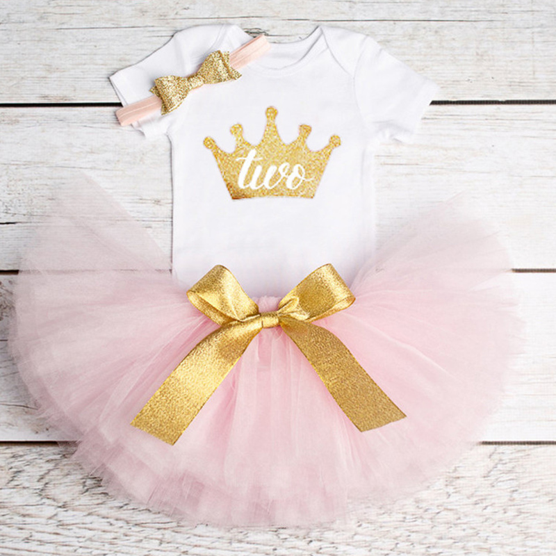 Newborn Pink Infant Dress 1st First Birthday Outfits Baby Headband Kids Toddler 1 2 Year Fluffy Dress for Girl Special Gift