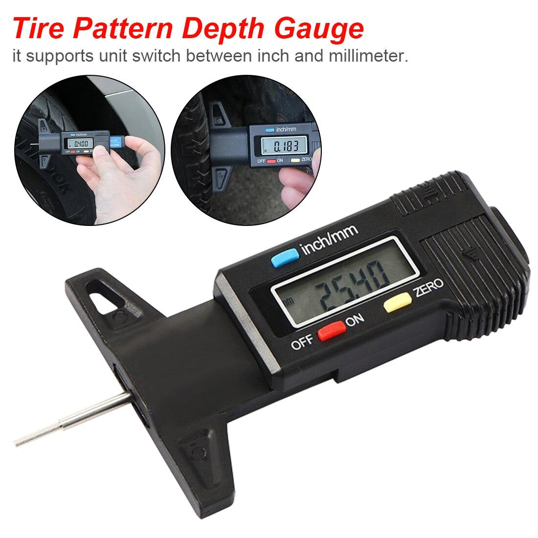 Digital Depth Gauge 0-25.4mm LCD Caliper Tread Depth Gauge For Motorbike/CarTester/Shoe Pad Tire Measurer Tool Caliper