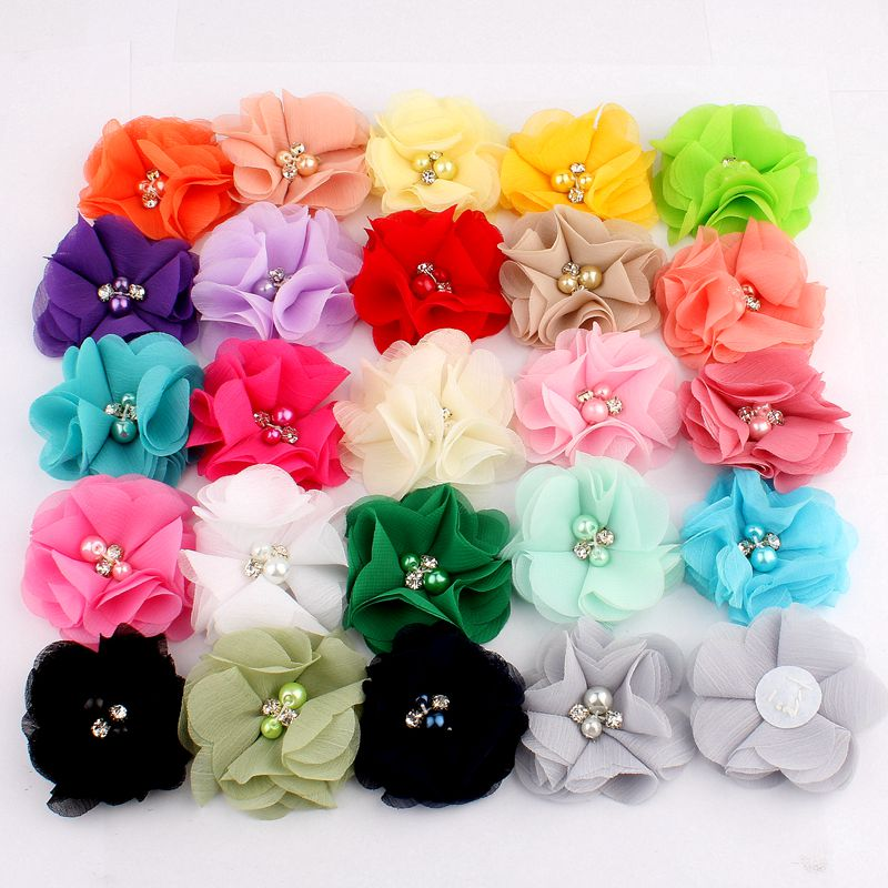 "10PCS 2"" 35 Colors Cute Chic Chiffon Flowers With Rhinestone Pearl Fabric Hair Flower With Clips For Girls Hair Accessories"