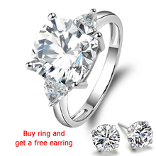 QYI Wedding ring Superior grade zircon White Gold Color 925 sterling silver rings for women in Engagement