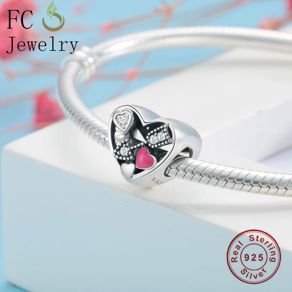 FC Jewelry Fit Original Pandora Charm Bracelet 925 Sterling Silver Struck By Love Magenta Enamel Clear CZ Heart DIY Charm Bead