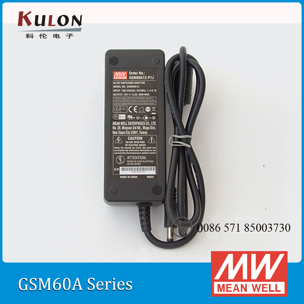 Original Meanwell GSM60A12-P1J mean well 60W 12V 5A AC/DC Green Medical Adaptor selling hot mean well gsm40a12 p1j 12v 3 34a meanwell gsm40a 12v 40w ac dc high reliability medical adaptor