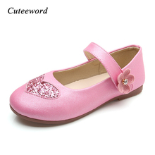 цены Kids Leather Shoes for Girls 2019 Spring New Children Wedding Party Princess Shoes Sequins Flowers Dance Girls Shoes Pink Gold