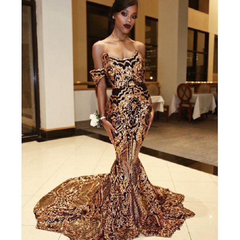 Arabic Mermaid Evening Dresses Sparkly Gold African Prom Dress For Black Girls Off Shoulder Celebrity Flare Formal Evening Gown