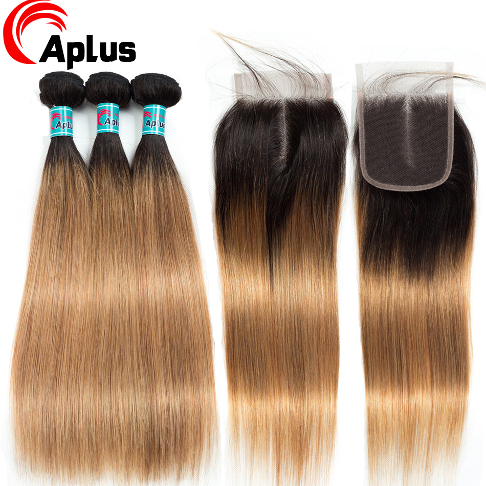 Aplus Hair Peruvian Ombre Bundles With Closure Straight 1B/27 Honey Blonde Bundles With Closure NonRemy Human Hair Weave Closure
