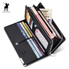 2019 Fashion men wallet Long Design Genuine Cow Leather Wallet Men Metal Corner Phone Luxury Black 129