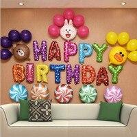 MUTLU DOĞUM GÜNÜ Balon Seti Harfler + Karikatür Hayvanlar + Yuvarlak Folyo Balon Set Birthay Parti Zemin Dekorasyon Çocuk Oyuncak Şekeri