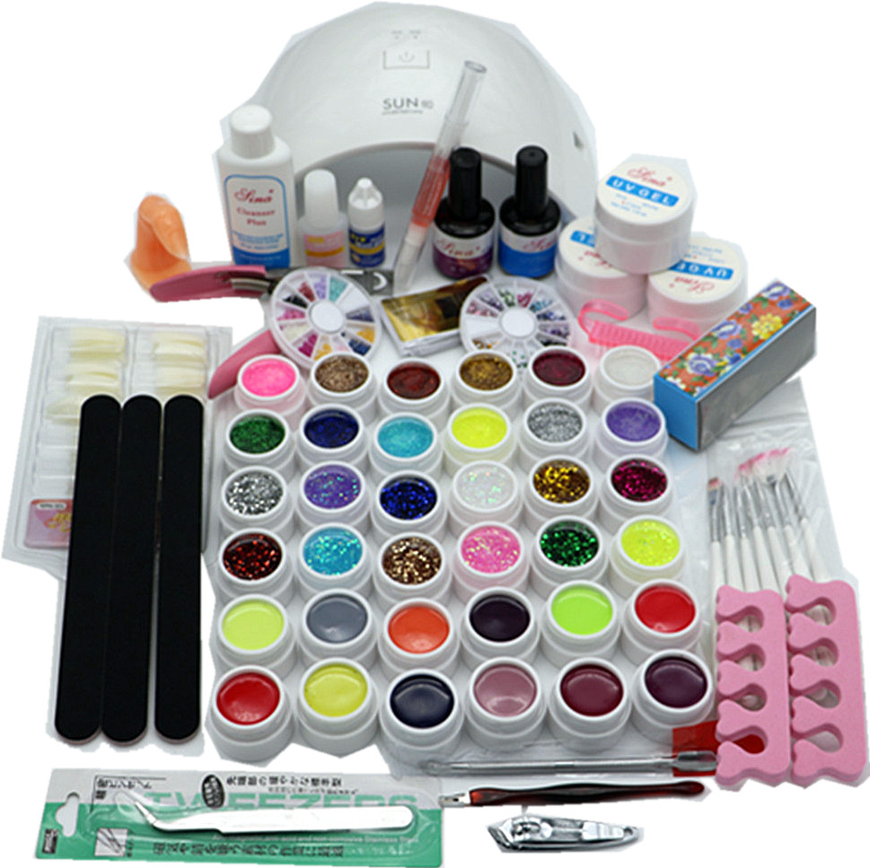 SUN9C PLUS Nail Sets 36W Led  White Lamp  UV GEL polish with 36 Color UV Gel Nail Art Tools Set Kit 14ML Top coat & Base coat nail art manicure tools set uv lamp 10 bottle soak off gel nail base gel top coat polish nail art manicure sets
