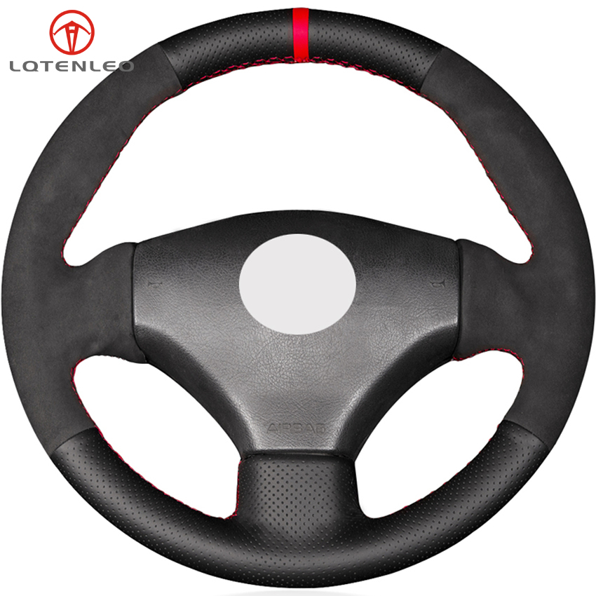 LQTENLEO Black Genuine Leather Suede DIY Car Steering Wheel Cover For Peugeot 206 1998 2005 206