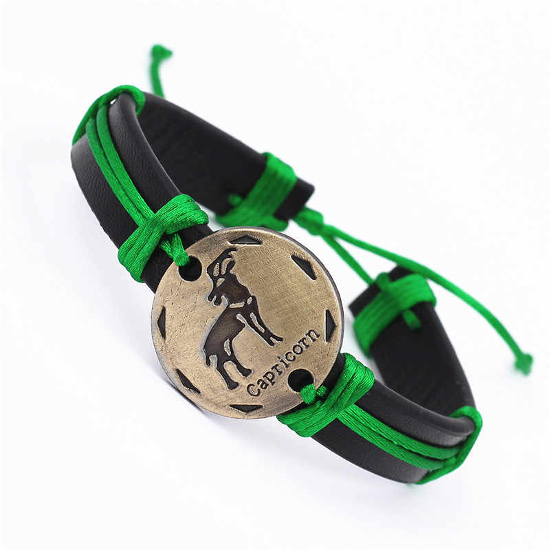 Мужской/женский кожаный браслет, плетеный браслет с 12 знаками Зодиака, в стиле панк